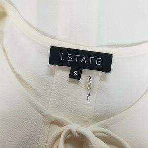 1. State Tops - 1.STATE Bow Tie Accents Soft Ecru Long Sleeve Top